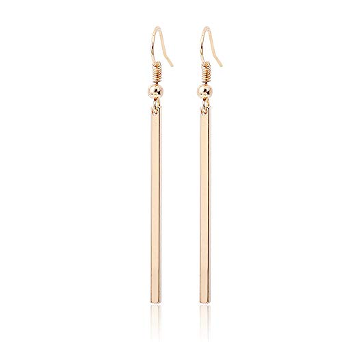 (Simple Geometric Rectangular Drop Earrings,Personality Cube Long Earrings for Women Girls Party Gift (Gold))