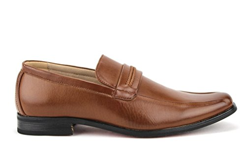 Majestic Mens 37422 Entrelacé Sangle Slip Sur Mocassins Robe Chaussures Cognac