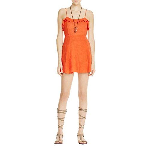 Free People Womens Open Back Criss-Cross Tie Casual Dress Orange S
