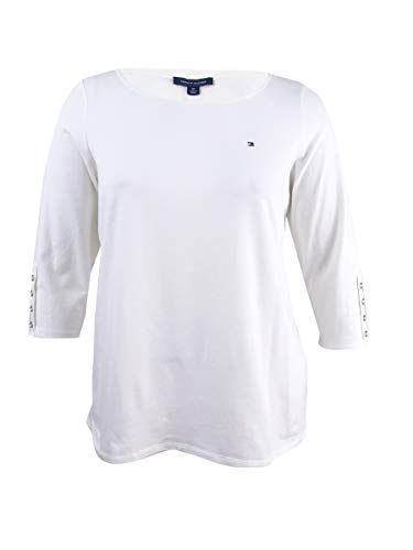 3/4 Hilfiger Tommy Sleeve - Tommy Hilfiger Women's Plus Size Button-Sleeve Top (0X, Ivory)