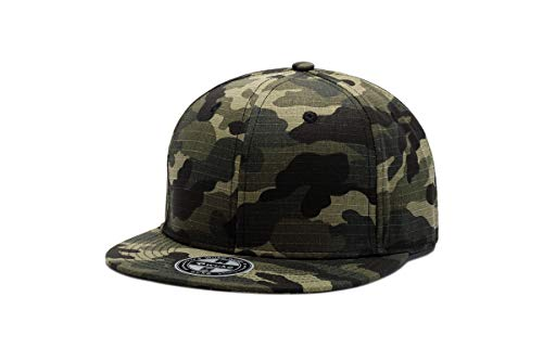 WUKE Men's Camouflage Flat Plain Snapback Baseball Hats Caps Camouflage Black