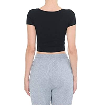 Women's Basic Solid Scoop Neck Slim Fit Short Sleeves Crop Tops at Women's Clothing store