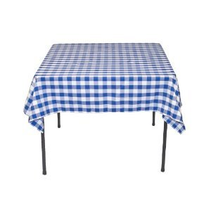LinenTablecloth 54-Inch Square Polyester Tablecloth Blue & White