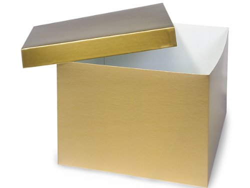 Pack of 50, Gold Hi-Wall 12 x 12 x 9'' 100% Recycled Giftware Box Base Use Food Safe Barrier Like Food Grade Tissue or Cello for Food Packaging(Lids Sold Separately) by Generic