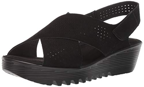 Skechers Women's Petite Parallel-PLOT-Square Perf Peep Toe Slingback Wedge Sandal, Black, 7 M -