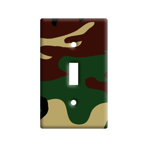 Camouflage Army Soldier - Plastic Wall Decor Toggle Light Switch Plate (Soldiers Cover)