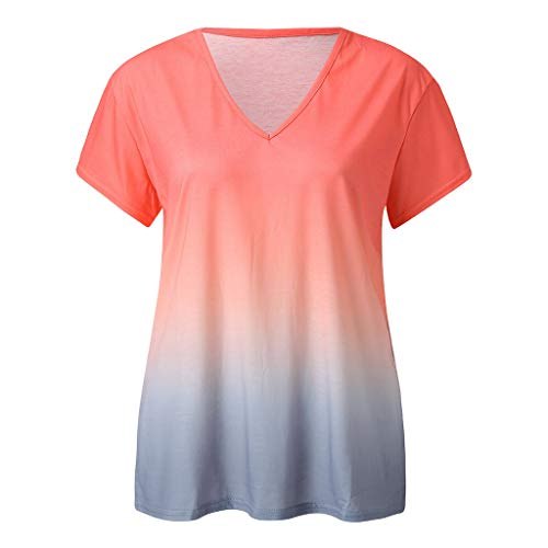 Tops for Women Casual Summer,V-Neck Short Sleeve Gradient Tie-dye Print Short Casual Blouse