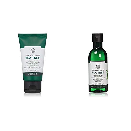 The Body Shop Tea Tree Skin Clearing Facial Wash, 8.4 Fl Oz (Vegan) and Tea Tree Mattifying Lotion, 1.69 Fl Oz (Vegan)