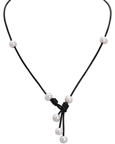18'' Cultured Freshwater White Pearl Choker Necklace Handmade Genuine Leather Knot Jewelry Gift for Girls Women