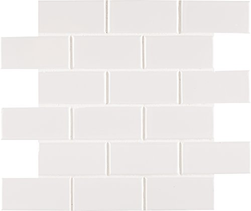 I2X4G White Glossy Staggered x 12 in. x 6 mm Porcelain Floor and Wall Tile, (16.68 sq. ft./case), Mosaic ()
