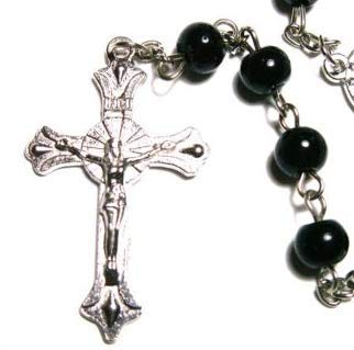 Great Gift ! Wonderful Black Round Glass Rosary Beads \ Cross Crucifix Necklace Chain Pendant Chapelet Catholic Religious Pray Prayer Wall Hanging Spiritual Church Christian Communion Jewelry -