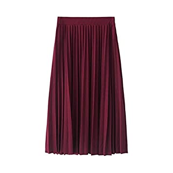 XIAOZIZI Falda Lápiz Otoño Mujer Cintura Alta Plisado Color Sólido ...