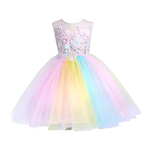 (RAINED-Baby Girl Rainbow Tutu Dress Sleeveless Flower Princess Birthday Party Pageant Costume Formal Tulle Skirt Outfit)