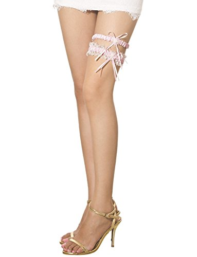 iB - iP Womens Two Piece Lace Trimmed Satin Flower Bow Ribbon Thigh High Garter,  Light Pink, One Size