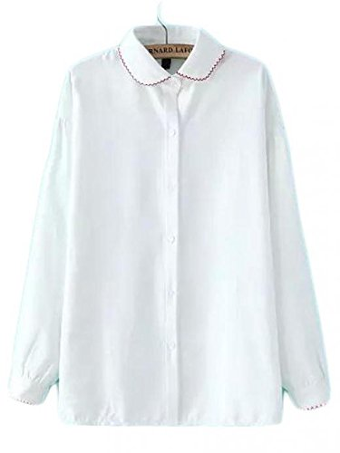 De las mujeres blancas de solapa bordado botones de la blusa floja