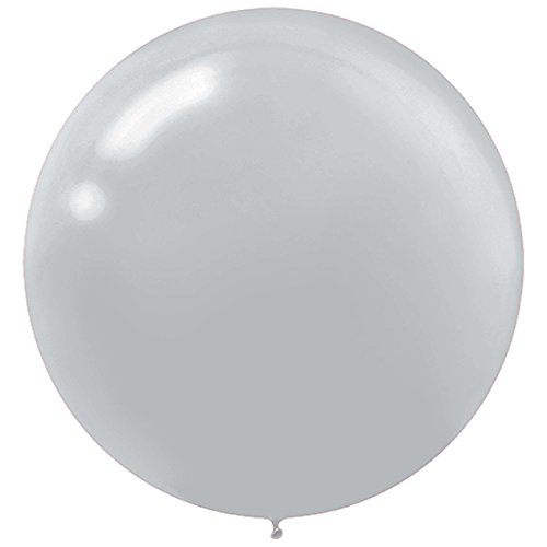Amscan Round Balloons,  Round Latex Balloons, Party Supplies, Silver, 24