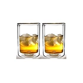 Sun's Tea (TM) 13oz Strong Double Wall Old-Fashioned Thermo Whiskey/coffee/juice Glasses, Set of 2