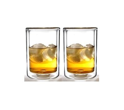 Double Wall Cocktail (Sun's Tea (TM) 13oz Strong Double Wall Old-Fashioned Thermo Whiskey/coffee/juice Glasses, Set of 2)