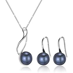 OneSight Sterling Silver Freshwater Cultured Pearl Jewelry Necklace Earrings Set for Women (Black Classic Pearl Earrings Necklace Sets)