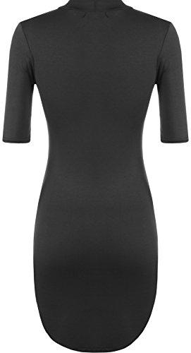 Wearall Femmes Tortue Cou Moulante Extensible À Manches Courtes Dip Hemtop Courbe Mini-robe Noire