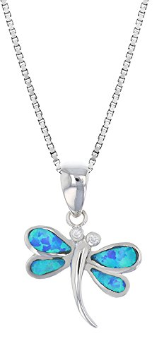 Tropical USA Sterling Silver Created Blue Opal and CZ Dragonfly Necklace Pendant with 18