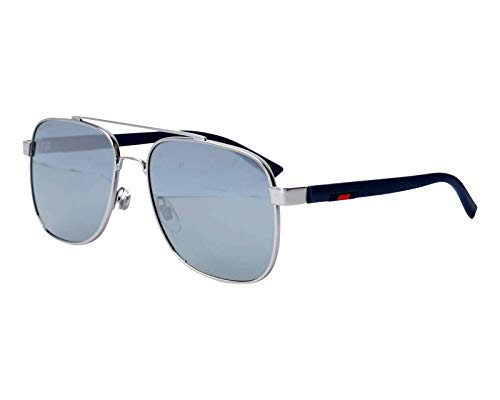 (Gucci GG0422S 004 Sunglasses Ruthenium Frame Grey Silver Mirrored Lenses 60mm)