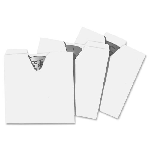 Wholesale CASE of 10 - Ideastream Vaultz CD/DVD File Folders-CD File Folders, 5-1/8''x1/16''x5-1/8'', 100/PK, White