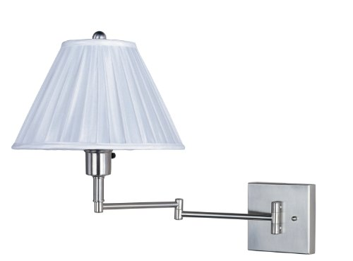 Park Madison Lighting PMW-1520-16 16-Inch Tall, Extends to 22-Inch Park Madsion Lighting Wall Swing Arm or Portable Lamp, Satin Nickel Finish - Madison Wall Lighting