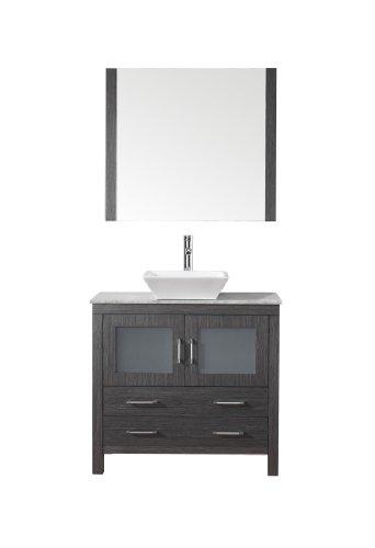 Virtu USA KS-70032-WM-ZG Modern 32-Inch Single Sink Bathroom Vanity Set with Polished Chrome Faucet, Zebra Grey