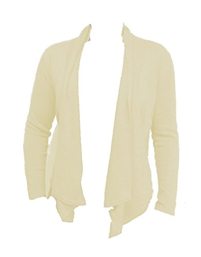 Fever Womens Open Front Cardigan Sweater Asymmetrical Ivory Medium