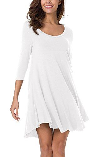 Irrgulire Tunique Ourlet Tee Robe Libert Manches Shirt Robe 4 Chemisier Femmes 3 De GoCo Blanc Urban wSqPvEBv