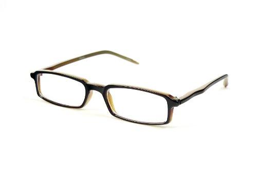 Fashion Clear Slim Lens Thin Rim Eye Glasses P524CL (Brown Olive)