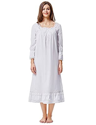 Kate Kasin Cotton Nightgowns for Women Victorian Nightgown Square Neck Sleep Dress