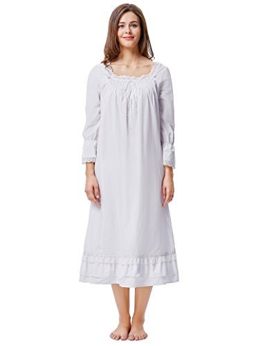 5786f09502 Kate Kasin Cotton Nightgowns for Women Victorian Nightgown Square Neck  Sleep Dress
