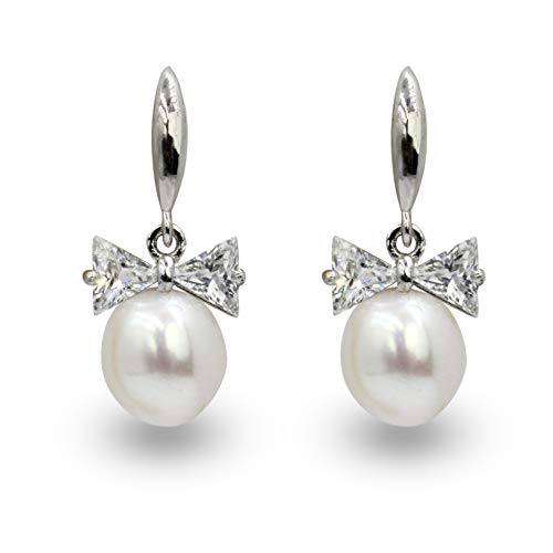NEL White Imitation Pearl Hook Dangle Earrings with Cubic Zirconia Bow (White)