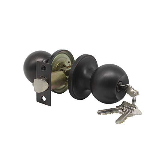 1 pack Entrance Doorknobs Entry Keyed Door Lock Lockset Interior Bedroom/Bathroom in Oil Rubbed Bronze 3 Free keys