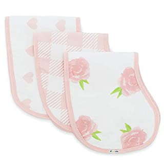 Muslin Burp Cloths, Burpy Bib Set (3 Pack) Pink Peony, Heart and Buffalo Plaid
