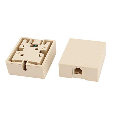 uxcell 2 Pcs Plastic Shell Female RJ11 Modular Phone Jack Block Box Beige
