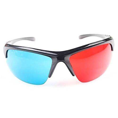 3D Glasses Sport Style Red & Blue Dimensional Anaglyph Black Plastic Frame 3D, Model: , Electronic Store
