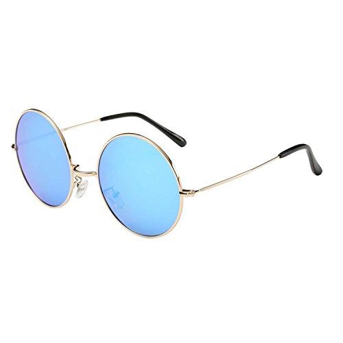 ZHILE Super Large Oversized Round Circle Polarized Sunglasses for Women 57mm (Gold, Blue mirrored) (Large Lennon Style Sunglasses)