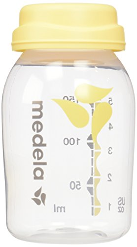 (Medela, Breast Milk Collection and Storage Bottles, 5 Ounce Bottle, Not made with BPA, Compatible with Medela Breast Pumps, Dishwasher Safe, Easy to Read Volume Marks, 6-Count of Bottles)