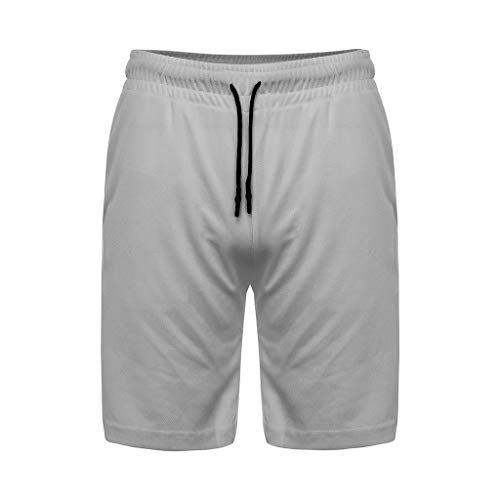 Men's Workout Running 2 in 1 Shorts Training Gym Short with Pockets Fitness Short Pants (3XL, Gray)