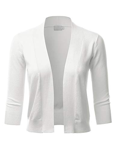 (LALABEE Women's Classic 3/4 Sleeve Open Front Cropped Bolero Cardigan-Ivory-M)