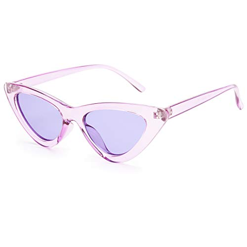 Livhò Retro Vintage Narrow Cat Eye Sunglasses for Women Clout Goggles Plastic Frame (Clear purple/purple) (Purple Sunglasses)