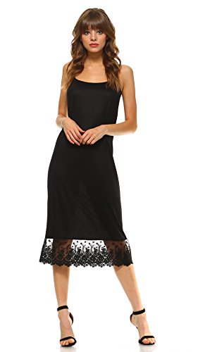 Melody Women's Long Solid Knit Lace Full Slip Cami Dress Extender With Adjustable Straps (Black, Large) - Lace Full Slip