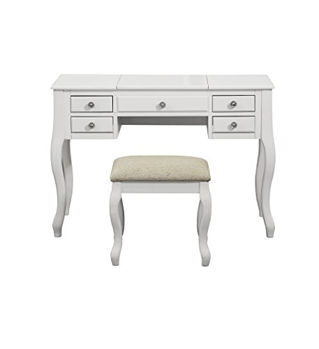 Poundex F4148 Bobkona Cailyn Flip Up Mirror vanity Set with Stool in White (In Furniture Rustic Phoenix)