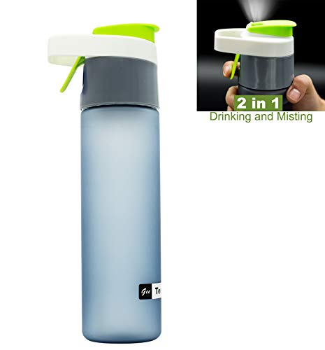 - Teentumn Spray Water Bottle for Sports Outdoor Misting, Drinking and Spraying Bottle for Humidification and Cooling, 20oz, Green