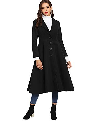 SOLY HUX Manteau  Col en Chale  Un Boutonnage Trench Coat Femme Top Manches Longues Blouson Long Chaud Tunique Noir