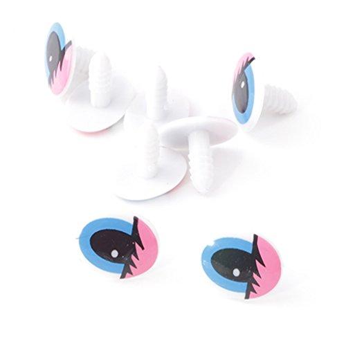 YOYOSTORE 100x Plastic Pink Blue Cartoon Cute Animal Doll Oval Eyes TOY Find DIY 20 Mm NEW