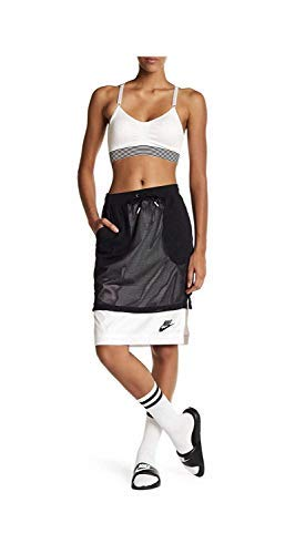 Nike Mesh Overlay Skirt Black White Modest Athletic Wear 848527-010 (L) ()